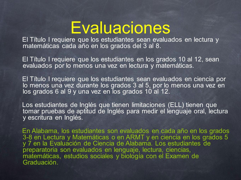 Evaluaciones El Título I requiere que los estudiantes sean evaluados en lectura y matemáticas cada año en los grados del 3 al 8.