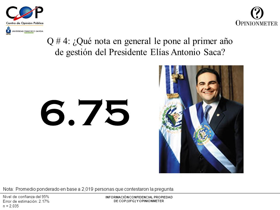 INFORMACIÓN CONFIDENCIAL PROPIEDAD DE COP (UFG) Y OPINIONMETER Q # 4: ¿Qué nota en general le pone al primer año de gestión del Presidente Elías Antonio Saca.