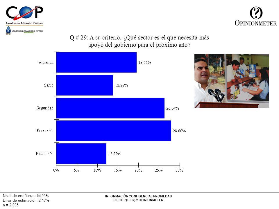 INFORMACIÓN CONFIDENCIAL PROPIEDAD DE COP (UFG) Y OPINIONMETER Q # 29: A su criterio, ¿Qué sector es el que necesita más apoyo del gobierno para el próximo año.