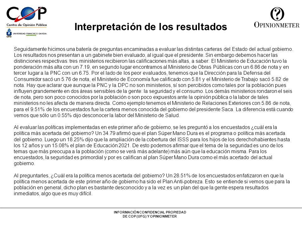 INFORMACIÓN CONFIDENCIAL PROPIEDAD DE COP (UFG) Y OPINIONMETER Interpretación de los resultados Seguidamente hicimos una batería de preguntas encamina