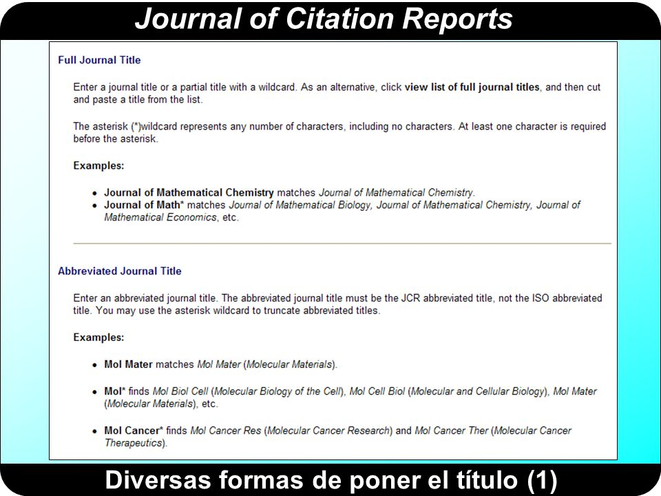 Journal of Citation Reports Diversas formas de poner el título (1)