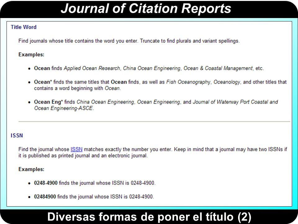 Journal of Citation Reports Diversas formas de poner el título (2)