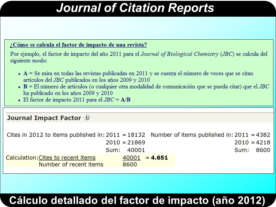 Journal of Citation Reports Cálculo detallado del factor de impacto (año 2012)