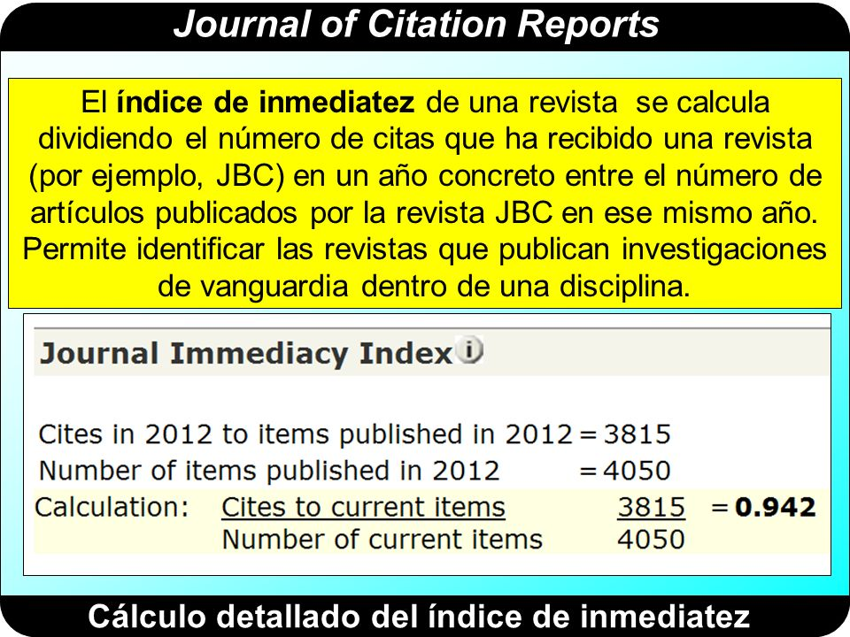 Journal of Citation Reports Cálculo detallado del índice de inmediatez El índice de inmediatez de una revista se calcula dividiendo el número de citas