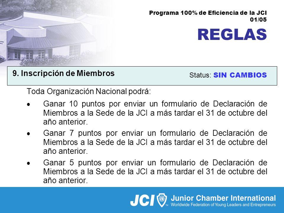 Programa 100% de Eficiencia de la JCI 01/05 REGLAS 9.