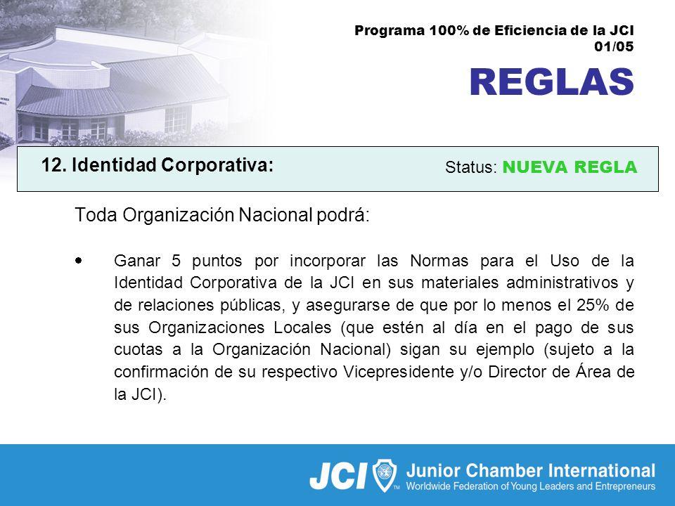 Programa 100% de Eficiencia de la JCI 01/05 REGLAS 12.