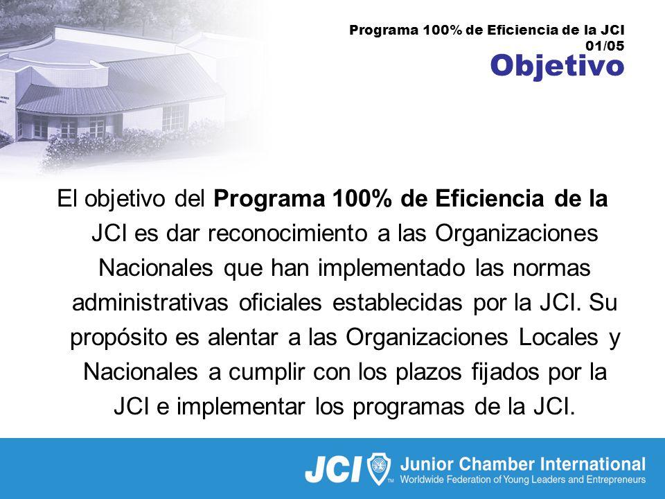 Programa 100% de Eficiencia de la JCI 01/05 Objetivo El objetivo del Programa 100% de Eficiencia de la JCI es dar reconocimiento a las Organizaciones Nacionales que han implementado las normas administrativas oficiales establecidas por la JCI.