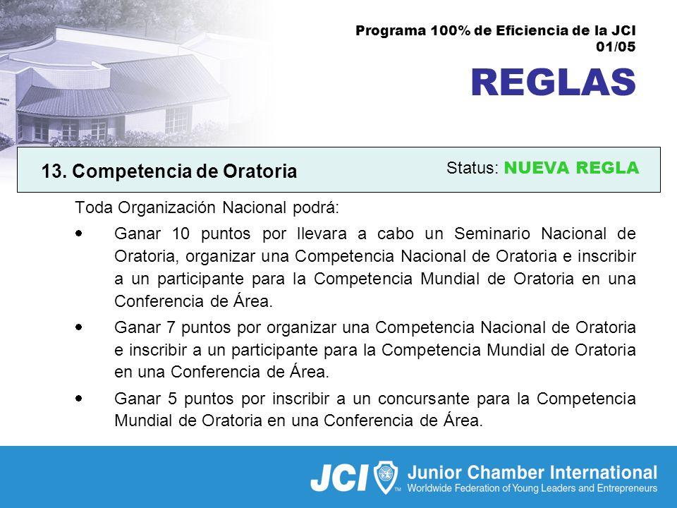Programa 100% de Eficiencia de la JCI 01/05 REGLAS 13.