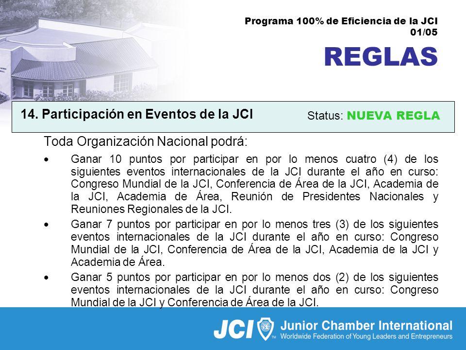 Programa 100% de Eficiencia de la JCI 01/05 REGLAS 14.