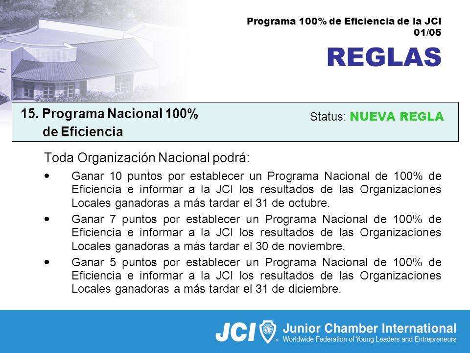 Programa 100% de Eficiencia de la JCI 01/05 REGLAS 15.