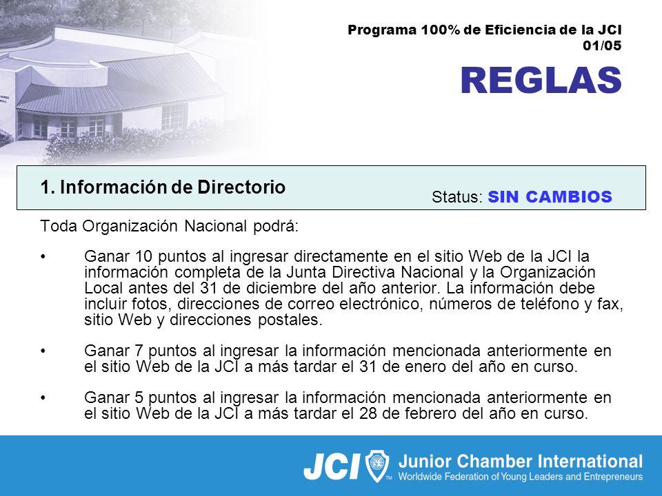 Programa 100% de Eficiencia de la JCI 01/05 REGLAS 1.