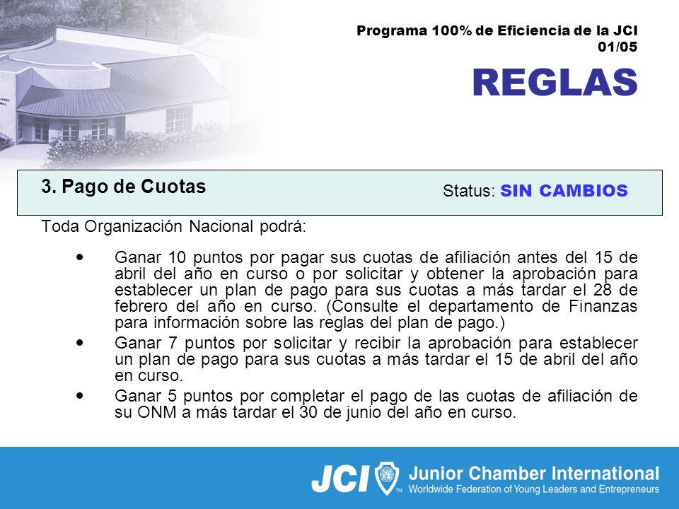 Programa 100% de Eficiencia de la JCI 01/05 REGLAS 3.