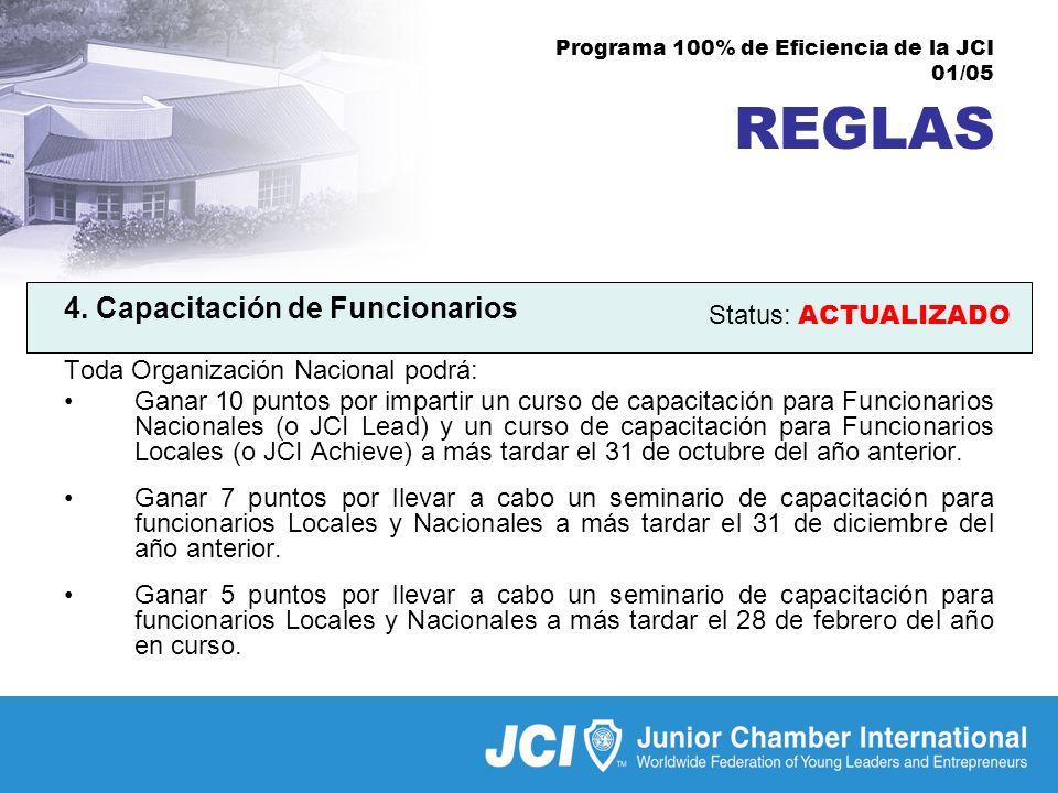 Programa 100% de Eficiencia de la JCI 01/05 REGLAS 4.