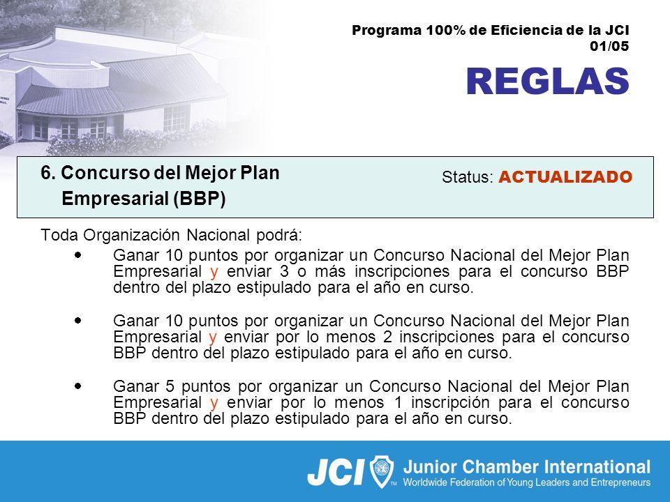 Programa 100% de Eficiencia de la JCI 01/05 REGLAS 6.