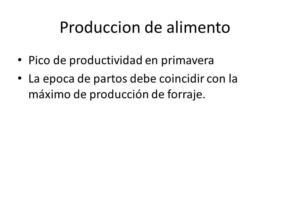 Produccion de alimento Pico de productividad en primavera La epoca de partos debe coincidir con la máximo de producción de forraje.