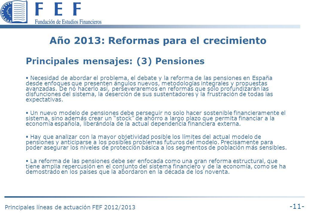 -11- Principales líneas de actuación FEF 2012/2013 Año 2013: Reformas para el crecimiento Principales mensajes: (3) Pensiones Necesidad de abordar el problema, el debate y la reforma de las pensiones en España desde enfoques que presenten ángulos nuevos, metodologías integrales y propuestas avanzadas.