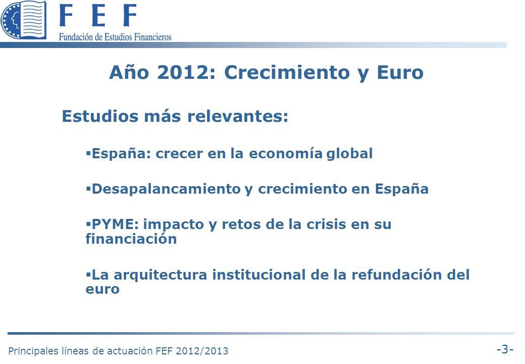 -3- Principales líneas de actuación FEF 2012/2013 Año 2012: Crecimiento y Euro Estudios más relevantes: España: crecer en la economía global Desapalancamiento y crecimiento en España PYME: impacto y retos de la crisis en su financiación La arquitectura institucional de la refundación del euro
