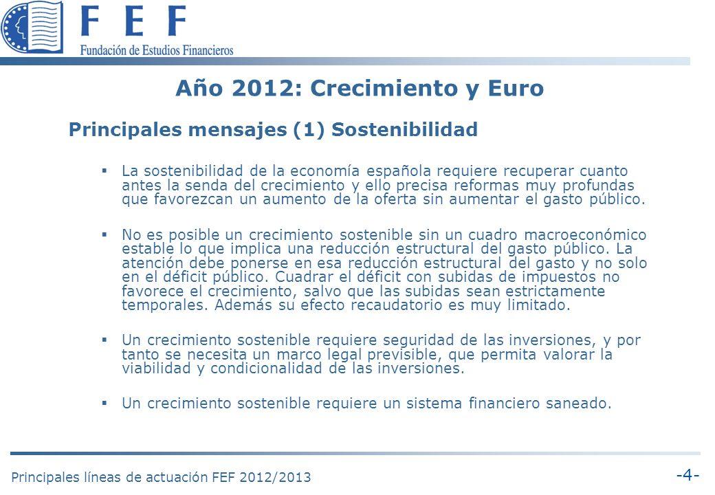 -5- Principales líneas de actuación FEF 2012/2013 Año 2012: Crecimiento y Euro Principales mensajes (2) Fortalecer a la PYME La mejora de la productividad requiere aumentar el tamaño de las empresas, el tamaño del mercado (transnacionalización) y la unidad de mercado interior (homogeneización).