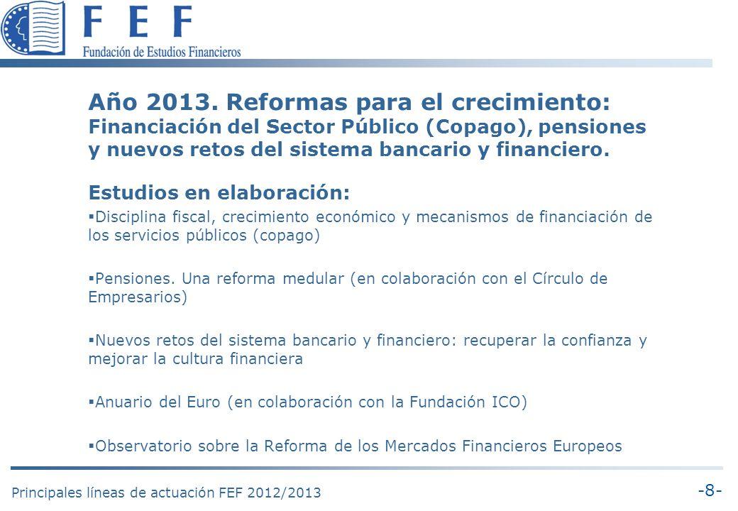 -9- Principales líneas de actuación FEF 2012/2013 Año 2013: Reformas para el crecimiento Principales mensajes: (1) Consolidación fiscal El debate austeridad-crecimiento es un falso debate.