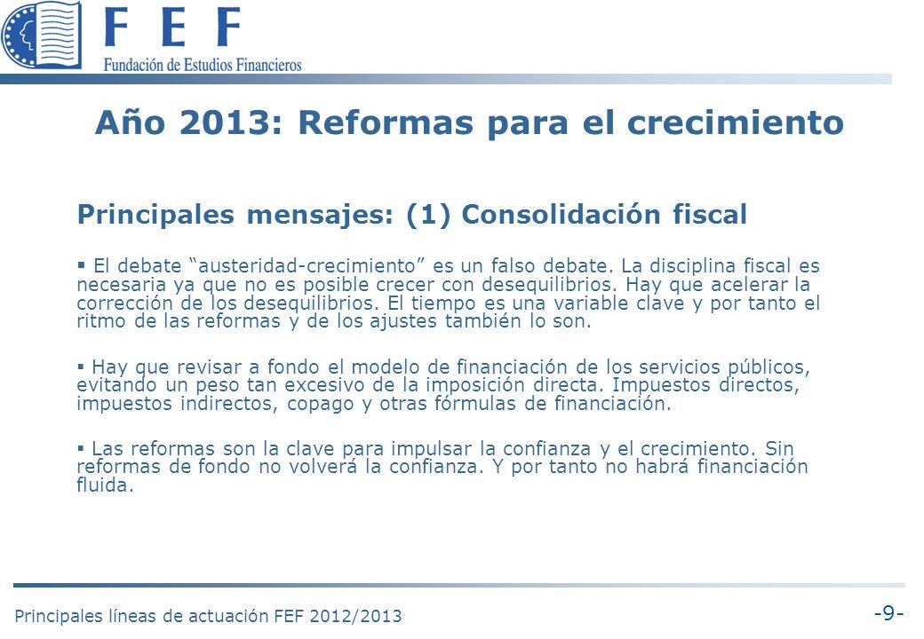 -10- Principales líneas de actuación FEF 2012/2013 Año 2013: Reformas para el crecimiento Principales mensajes: (2) Pacto por el crecimiento Volver a la senda del crecimiento requiere reformas estructurales pendientes de realizar.