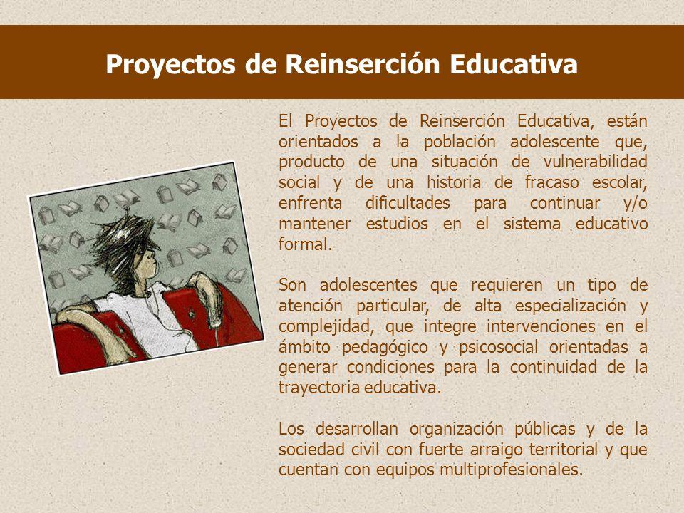 Proyectos de Reinserción Educativa El Proyectos de Reinserción Educativa, están orientados a la población adolescente que, producto de una situación de vulnerabilidad social y de una historia de fracaso escolar, enfrenta dificultades para continuar y/o mantener estudios en el sistema educativo formal.