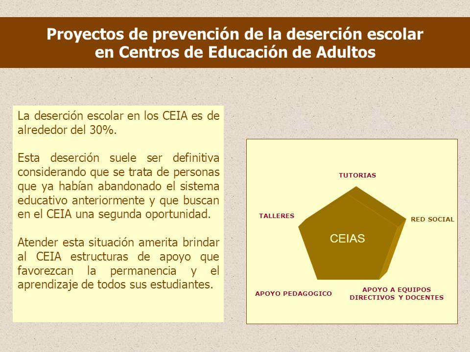 Proyectos de prevención de la deserción escolar en Centros de Educación de Adultos La deserción escolar en los CEIA es de alrededor del 30%.