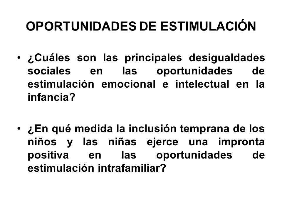 OPORTUNIDADES DE ESTIMULACIÓN ¿Cuáles son las principales desigualdades sociales en las oportunidades de estimulación emocional e intelectual en la in