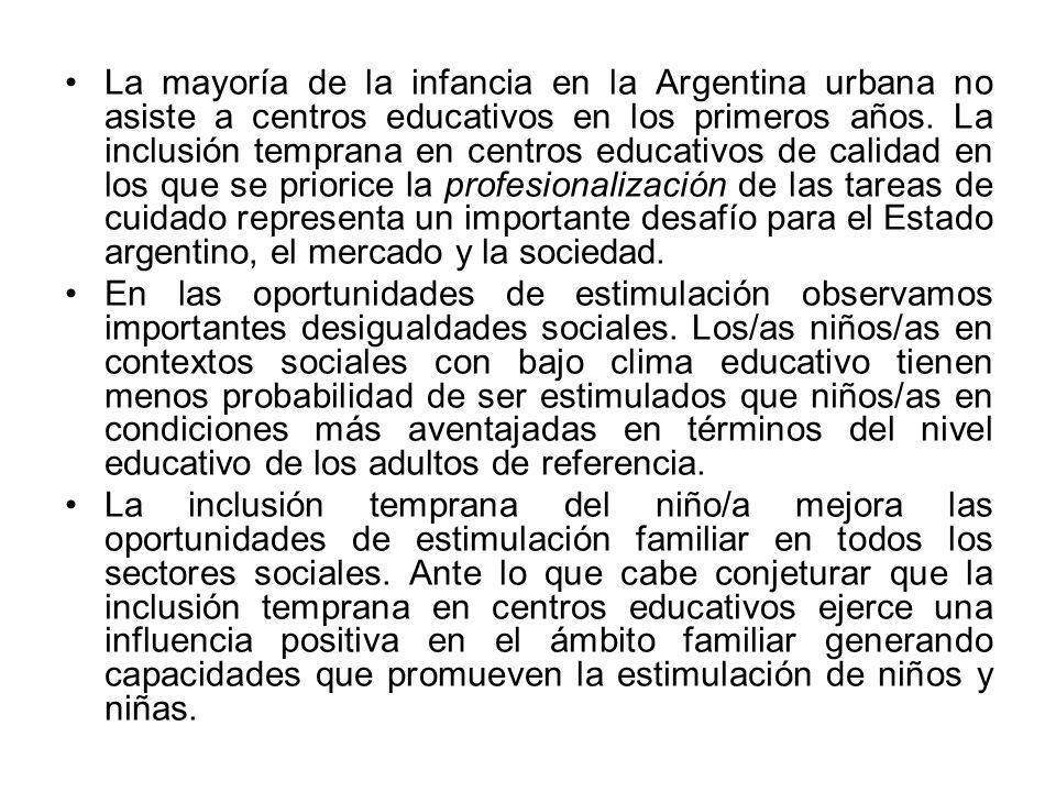 La mayoría de la infancia en la Argentina urbana no asiste a centros educativos en los primeros años. La inclusión temprana en centros educativos de c