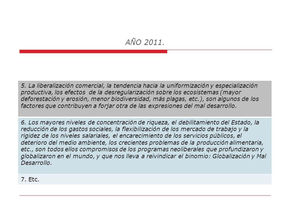 AÑO 2011. Algunas consideraciones personales, sobre el saldo negativo de las dinámicas de desreglamentación económica y financiera: 1. La flexibilizac
