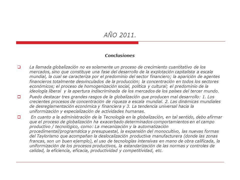 AÑO 2011. el debilitamiento del poder real de los estados nacionales y el desplazamiento de este poder hacia las empresas transnacionales y centros fi