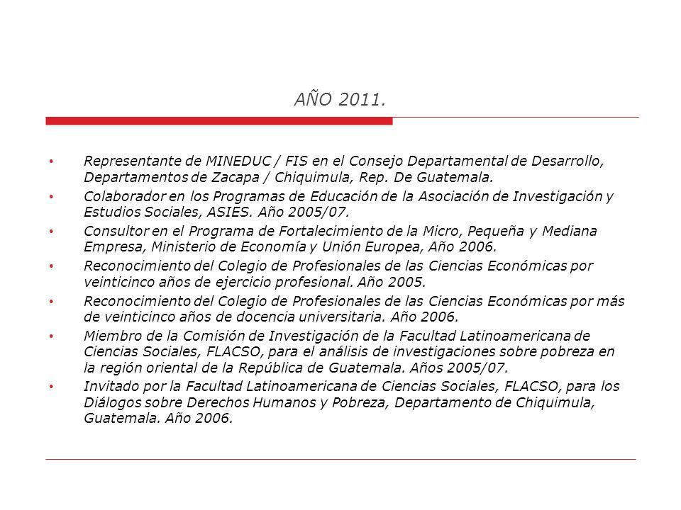 AÑO 2011. Escribe en la Revista Vida Universitaria, de la Universidad Rafael Landívar. Colaborador en la Revista AGENDA, en la Ciudad de Chiquimula, G