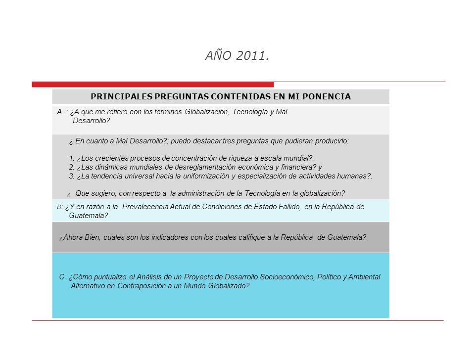 AÑO 2011. Tercero: Analizo, variables fundamentales y algunas complementarias para el desarrollo social y económico integral de Guatemala, como son ed