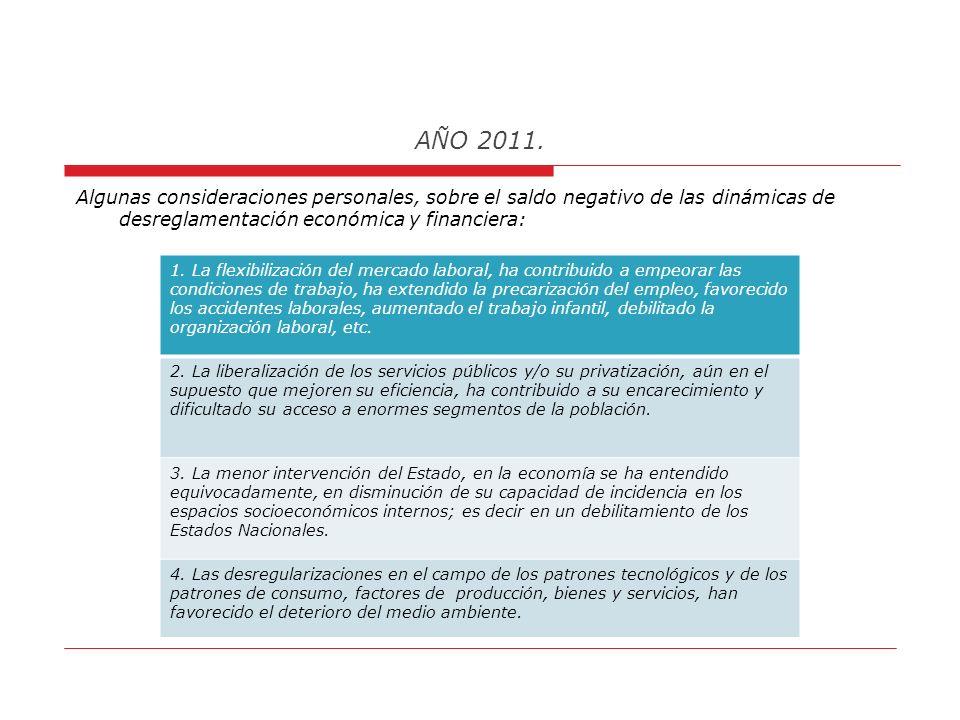 AÑO 2011. Pregunta 2: ¿A que me refiero con, las dinámicas mundiales de desreglamentación económica y financiera? Respuesta: Estimo que, la globalizac