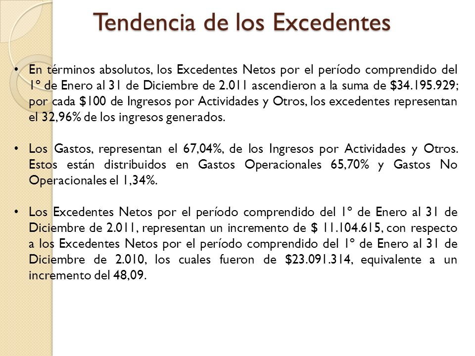 En términos absolutos, los Excedentes Netos por el período comprendido del 1º de Enero al 31 de Diciembre de 2.011 ascendieron a la suma de $34.195.929; por cada $100 de Ingresos por Actividades y Otros, los excedentes representan el 32,96% de los ingresos generados.