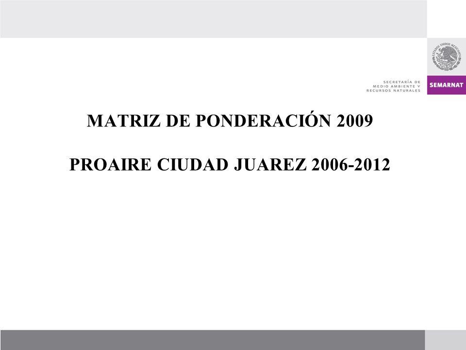 MATRIZ DE PONDERACIÓN 2009 PROAIRE CIUDAD JUAREZ 2006-2012