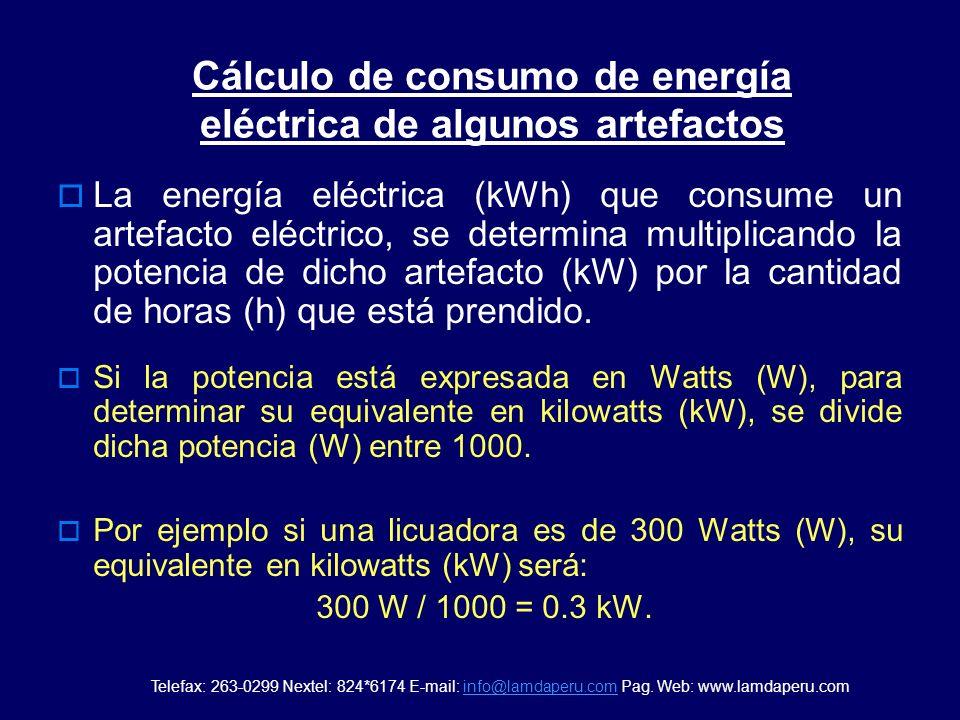 Potencia de artefactos mas usados en el hogar Lámpara Ahorradora 20 W Lámpara Fluorescente 40 W Lámpara Incandescente 100 W T.V. 20 100 W Equipo 80 W