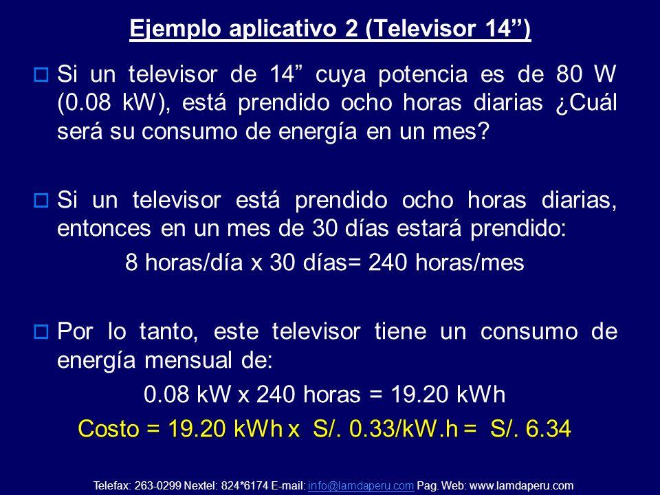 Ejemplo aplicativo 1 (foco de luz) Si un foco de luz de 100 W (0.1 kW), está prendido cinco horas diarias ¿Cuál será su consumo de energía en un mes?