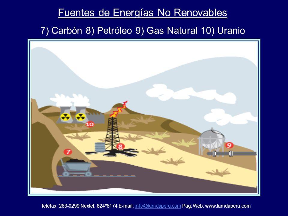 Fuentes de Energías Renovables 1) Solar 2) Hidráulica 3) Eólica 4) Biomasa 5) Mareomotriz y energía de las olas 6) Geotérmica. Telefax: 263-0299 Nexte