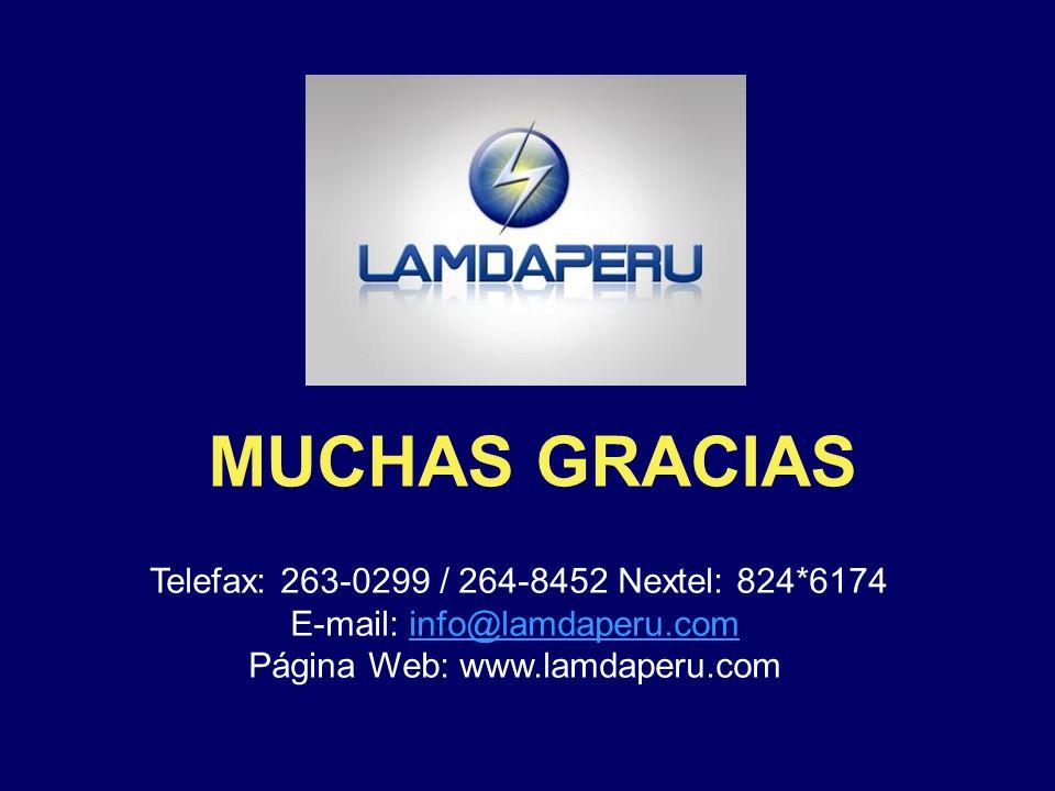¡¡¡ S i SU EMPRESA, ahorra energía, logrará la eficiencia !!! Telefax: 263-0299 Nextel: 824*6174 E-mail: info@lamdaperu.com Pag. Web: www.lamdaperu.co