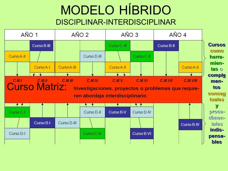 AÑO 1AÑO 2AÑO 3AÑO 4 MODELO HÍBRIDO DISCIPLINAR-INTERDISCIPLINAR Curso Matriz: Investigaciones, proyectos o problemas que requie- ren abordaje interdisciplinario C.M.IC.M.IIC.M.IIIC.M.IVC.M.VC.M.VIC.M.VIIC.M.VIII Curso D-I Curso B-I Curso B-III Curso A-I Curso A-II Curso C-I Curso D-III Curso C-IV Curso A-III Curso D-II Curso C-II Curso C-III Curso B-VI Curso A-II Curso D-IVCurso B-V Curso B-II Curso B-IV Curso A-II Cursos como herra- mien- tas o comple men- tos concep tuales y proce- dimen- tales indis- pensa- bles