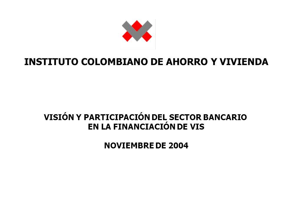 INSTITUTO COLOMBIANO DE AHORRO Y VIVIENDA VISIÓN Y PARTICIPACIÓN DEL SECTOR BANCARIO EN LA FINANCIACIÓN DE VIS NOVIEMBRE DE 2004