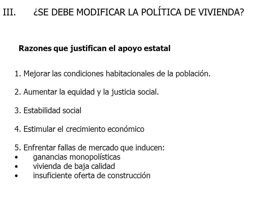 III.¿SE DEBE MODIFICAR LA POLÍTICA DE VIVIENDA. 1.