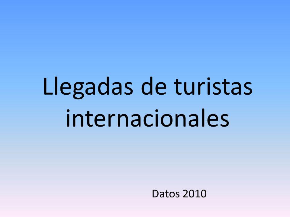 Llegadas de turistas internacionales Datos 2010