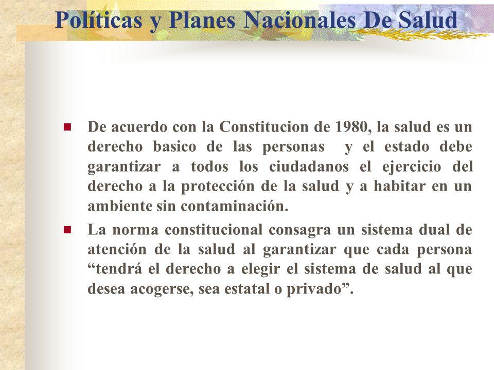 Políticas y Planes Nacionales De Salud De acuerdo con la Constitucion de 1980, la salud es un derecho basico de las personas y el estado debe garantizar a todos los ciudadanos el ejercicio del derecho a la protección de la salud y a habitar en un ambiente sin contaminación.