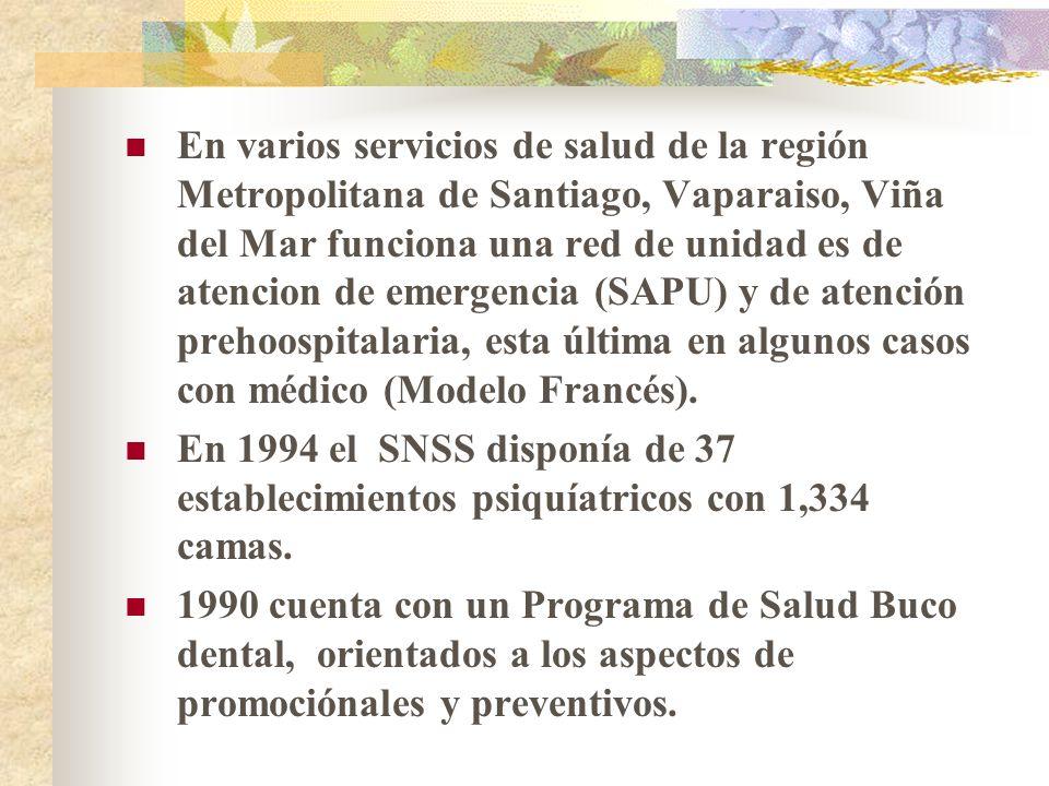 En varios servicios de salud de la región Metropolitana de Santiago, Vaparaiso, Viña del Mar funciona una red de unidad es de atencion de emergencia (SAPU) y de atención prehoospitalaria, esta última en algunos casos con médico (Modelo Francés).