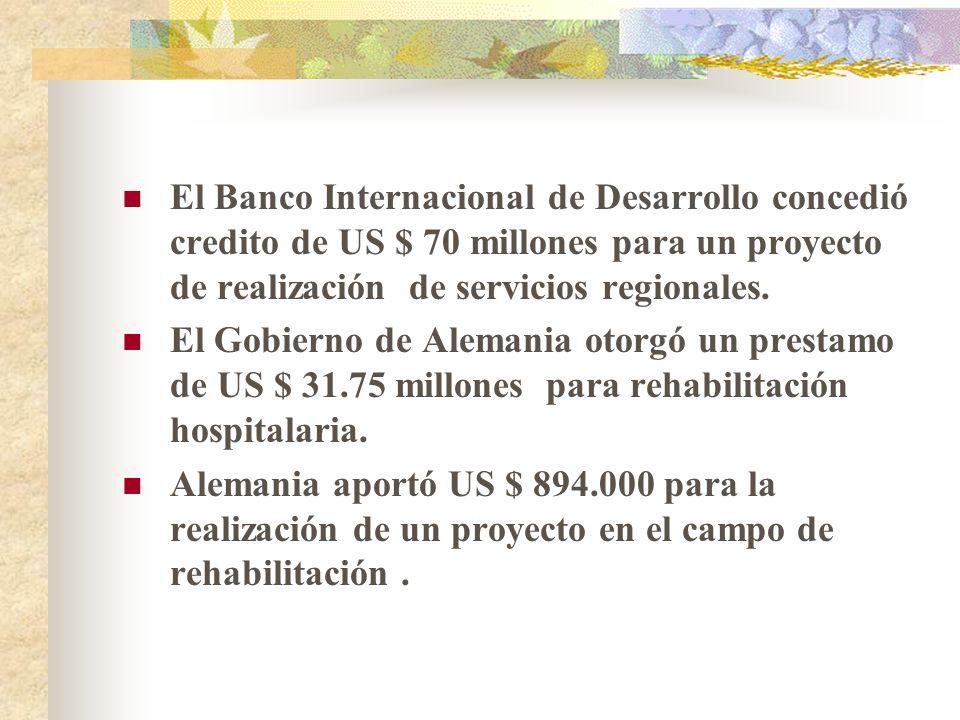 El Banco Internacional de Desarrollo concedió credito de US $ 70 millones para un proyecto de realización de servicios regionales.