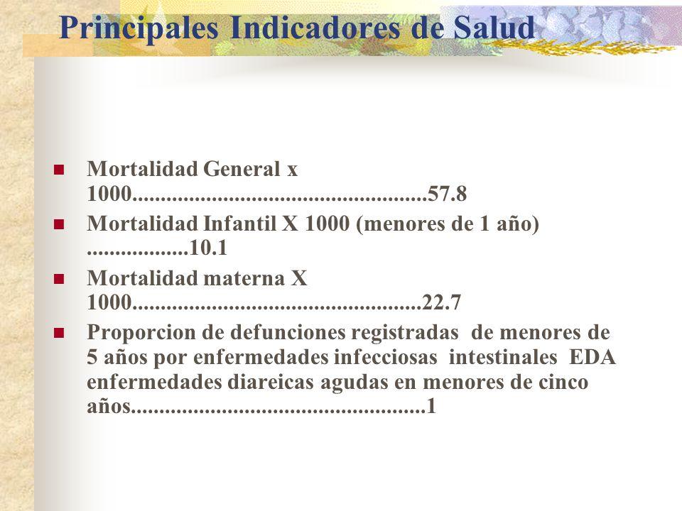 Principales Indicadores de Salud Mortalidad General x 1000....................................................57.8 Mortalidad Infantil X 1000 (menores de 1 año)..................10.1 Mortalidad materna X 1000...................................................22.7 Proporcion de defunciones registradas de menores de 5 años por enfermedades infecciosas intestinales EDA enfermedades diareicas agudas en menores de cinco años....................................................1