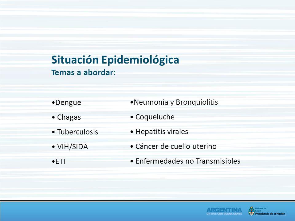 Temas a abordar: Dengue Chagas Tuberculosis VIH/SIDA ETI Neumonía y Bronquiolitis Coqueluche Hepatitis virales Cáncer de cuello uterino Enfermedades n