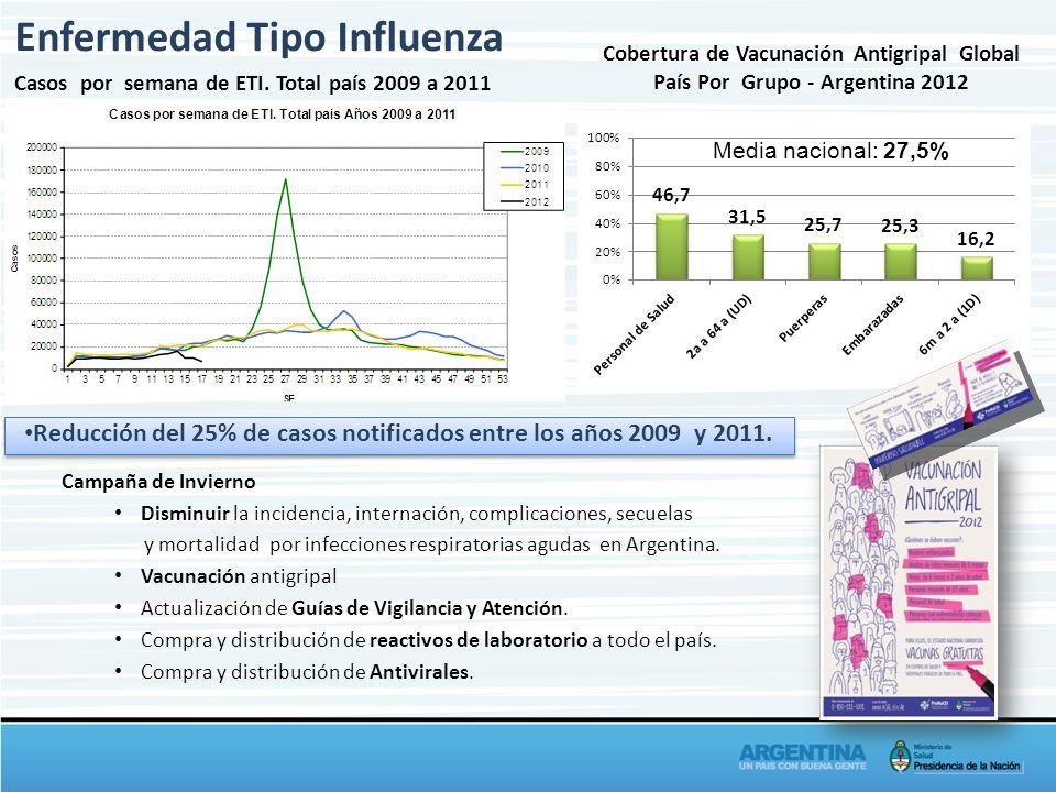 Reducción del 25% de casos notificados entre los años 2009 y 2011. Enfermedad Tipo Influenza Cobertura de Vacunación Antigripal Global País Por Grupo