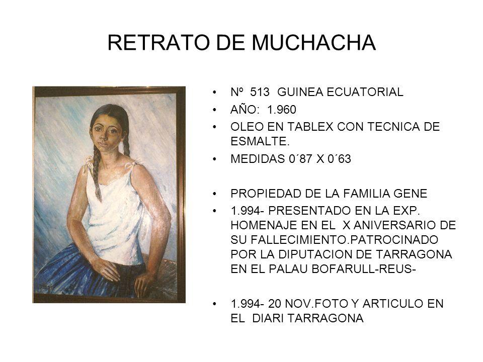RETRATO DE MUCHACHA Nº 513 GUINEA ECUATORIAL AÑO: 1.960 OLEO EN TABLEX CON TECNICA DE ESMALTE.